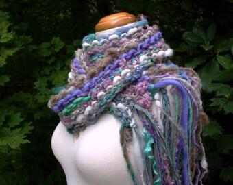 journey. handknit art yarn scarf . knit handspun fiber art luxury scarf merino wool curly locks sari silk ribbon shetland wool kid mohair