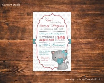 CUSTOM PRINTABLE Invitation: The Cat's Out Of The Bag Kitten Baby Shower Invitation (Customizable)