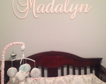 Wall Decor Connected Wooden Name Wall Hanging name plaque  sign  GLITTERED nursery name baby name nursery decor wooden wall art above a crib