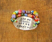Not My Circus Not My Monkeys Spoon Bracelet saying phrase quote rainbow colorful As Seen at GBK's 2016 MTV Movie Awards Celeb Gift Lounge