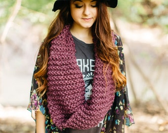 Wool Blend Infinity Scarf in Fig // Knitted Circle Scarf // Long Mauve Violet Cowl