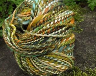 Handpainted yarn, handspun Targhee wool yarn, OOAK two ply skeins-FOREST GNOME