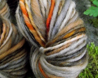 Handspun yarn, handpainted thick and thin hand dyed organic Polwarth wool yarn, multiple skeins available-HAUNTED