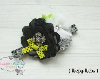 Halloween Baby headband { Wispy Webs} Black, green, silver, spider web, witch, Fall Headband, jack o lantern cake smash photography prop
