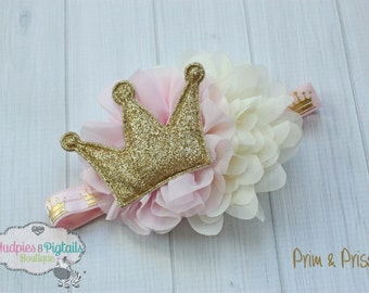baby headband { Prim & Prissy } pink gold cream fancy, first birthday, cake smash, princess party, Gold Crown Photography Prop