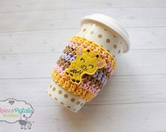 Crochet Striped { Sweet Giraffe } Coffee cozie, cup sleeve, mug sweater cozy, tea cozy, planner girl, teacher gift zoo