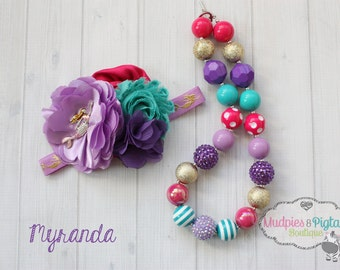 chunky necklace or baby headband set { Myranda } mermaid hot pink, teal, gold, purple 1st first Birthday, cake smash set photography prop