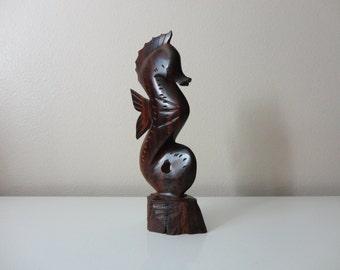 VINTAGE carved wood SEAHORSE FIGURINE