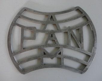 VINTAGE metal PAN AM trivet or wall plaque