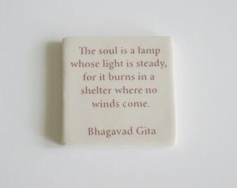 Bhagavad Gita Tile - Handmade Porcelain Tile with Bhagavad Quote - Hanging Wall Tile with Bhagavad Gita Quote