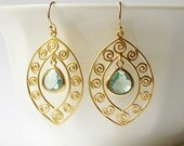 Aquamarine Dangle Earrings Wedding Jewelry