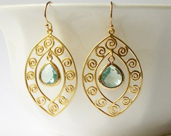 Aquamarine and Gold Earrings, Birthstone Jewelry