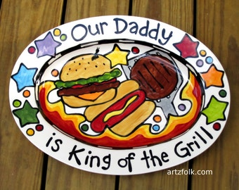 Personalized BBQ serving tray King of the Grill small medium large or extra large