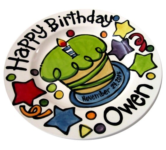CUSTOM Birthday Cake Plate Personalized colorful happy ceramic cupcake candles and fun