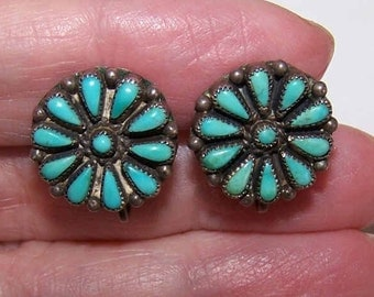 Vintage NATIVE AMERICAN/Southwest Sterling Silver & Turquoise Cab Earrings
