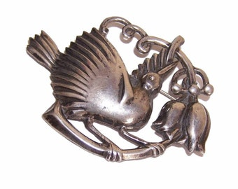 Stunning C.1950 MEXICO SILVER Pin/Brooch - Bird on Branch