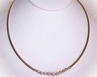 Stunning ESTATE 14K Gold & 1.53CT TW Diamond Omega Chain Necklace