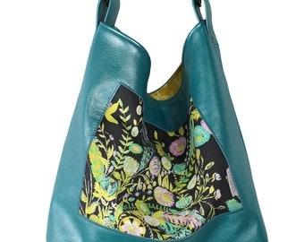 Flower Show Teal Leather Handbag, Boho Tote