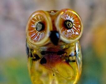 Stella..... lampwork owl bead....... sra