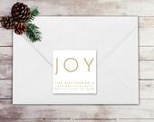 Joy Return Address Label - Square Label - Printable Return Address Label - Holiday Label - Christmas Label - Gold Label - WH214