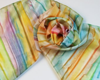 Hand Painted Silk Scarf - Handpainted Scarves Pastel Rainbow Yellow Lemon Lime Green Slate Blue Turquoise Aqua Coral Pink Orange