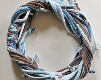 T Shirt Scarf - Infinity Circle Scarves Recycled Cotton - Slate Denim Light Blue Powder Sky White Brown Beach Ocean Sea