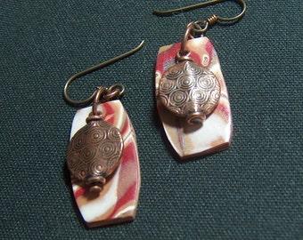 Mokume Gane Beaded Earrings