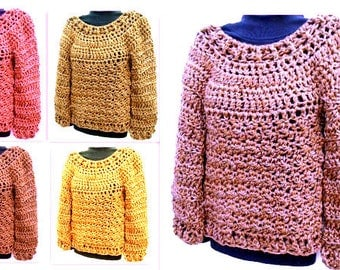 CROCHET PATTERN- Pullover Sweater, Chunky Over-Sized Sweater, Women's Clothing, for women teens,  #866-3XL-4XL, Quick and Easy