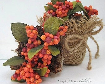 Autumn Centerpieces, Fall Decor, Thanksgiving Decor, Small Table Decorations, Earthy Autumn Woodland Colors, Natural Home Decor Set of 2