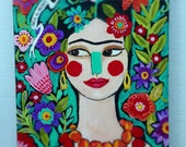 Mexican Folk Art Painting on Canvas