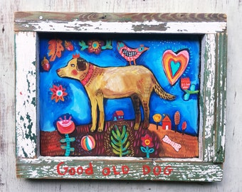 Framed Folk Art Dog Painting