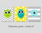 MONSTER Nursery Art Trio Baby Boy Nursery Monsters Decor - Chevron Stripe Polka Dots - Set of Three 8x10 Prints - Choose Your Colors