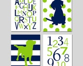 Puppy Dog Nursery Wall Art - Alphabet, Numbers, Polka Dot Stripe Puppy Dogs - Set of Four 8x10 Prints - CHOOSE YOUR COLORS - Navy and Lime