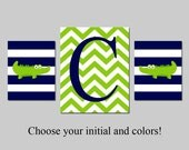 Alligator Nursery Decor Crocodile Nursery Art - Stripes Alligators and Chevron Initial - Set of Three 8x10 and 11x14 - CHOOSE YOUR COLORS
