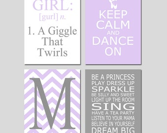 Purple Grey Dance Girl Bedroom Art Nursery - Girl Definition, Keep Calm and Dance On Ballet Slippers, Chevron Initial, Be A Princess Rules