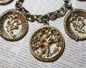 Costume Jewelry- TREE Medallion BRACELET- Charm Bracelet- Tree of Life