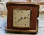 Phinney Walker TRAVEL CLOCK- 1940's Folding Alarm Clock- Grant Gear Works Boston, Mass.