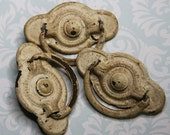 Salvaged Drawer Pulls- White Chipped Paint- Metal Hardware- 3 Matching- Shabby Chic Style
