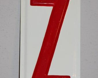 Vintage METAL SIGN Letter Z- Red & White Alphabet Letter- Initial Monogram Z   G-03