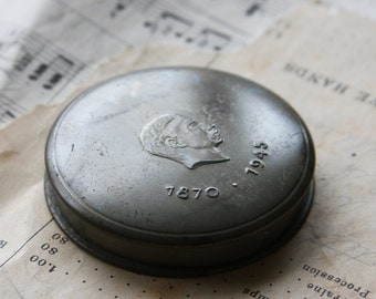 Vintage Silver tone MAKE-UP Mirrored COMPACT- 1870-1945 Face Powder- Metal Case
