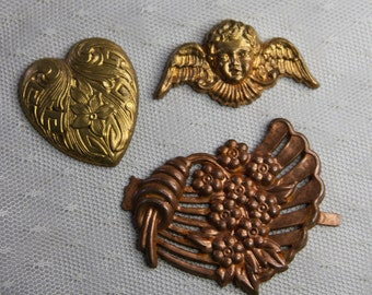 Vintage Brass Embellishments- Mixed Media- Altered Art Supply- Pendant Findings- Metal Stampings- Flowers- Heart- Angel