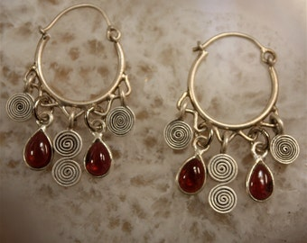 Silver Hoop Earrings, Garnet Charm Earrings, Silver Spiral Dangle Earrings