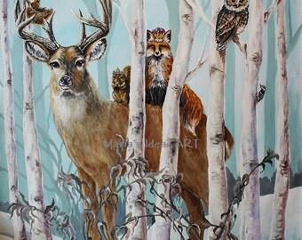 Estimate For Wildlife Mural, Animal Murals, Tree Murals, Tree Painting,  Birch Trees Part 39