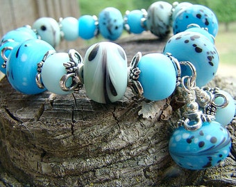 Blue Lampwork Bead Bracelet, Women's Beaded Bracelet, Stretch Bracelet, Glass Bead Bracelet, Bead Bracelet, Handmade Bracelet, Summer Trends
