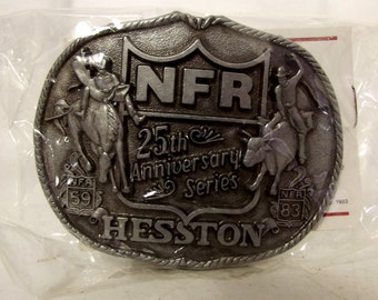 Vintage 1983 Hesston NFR Belt Buckle 25th Anniversary National Finals Rodeo Bull Rider Bronc