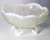Vintage Mosser Crystal Opalescent Glass Seashell Dish, Pearl Clamshell Bowl, Scallop Serving Dish, Milk Glass, Nautical Kitchen, Footed dish