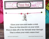 Think Pink - Style 2 - Wish Bracelet - Shown In BUBBLEGUM - Over 100 Colors Available