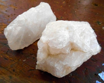 Quartz Crystals 2 Large Raw Stones, Natural Rock Quartz chunk collection,