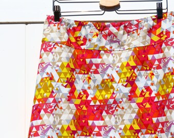"Geometry in Sunrise Simple A-Line skirt, Simple A-line, All sizes, and lengths available, women's hip sizes 34"" to 56"""