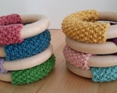 Maple Wood Teething Toy with Knitted handle